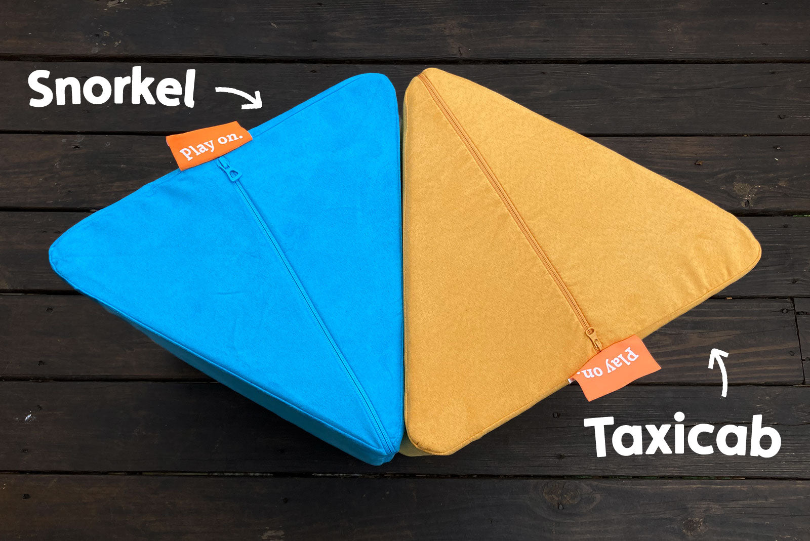 Comparison between Nugget colors: Snorkel — a bright, popping aquamarine; Taxicab —a warm, buttery yellow