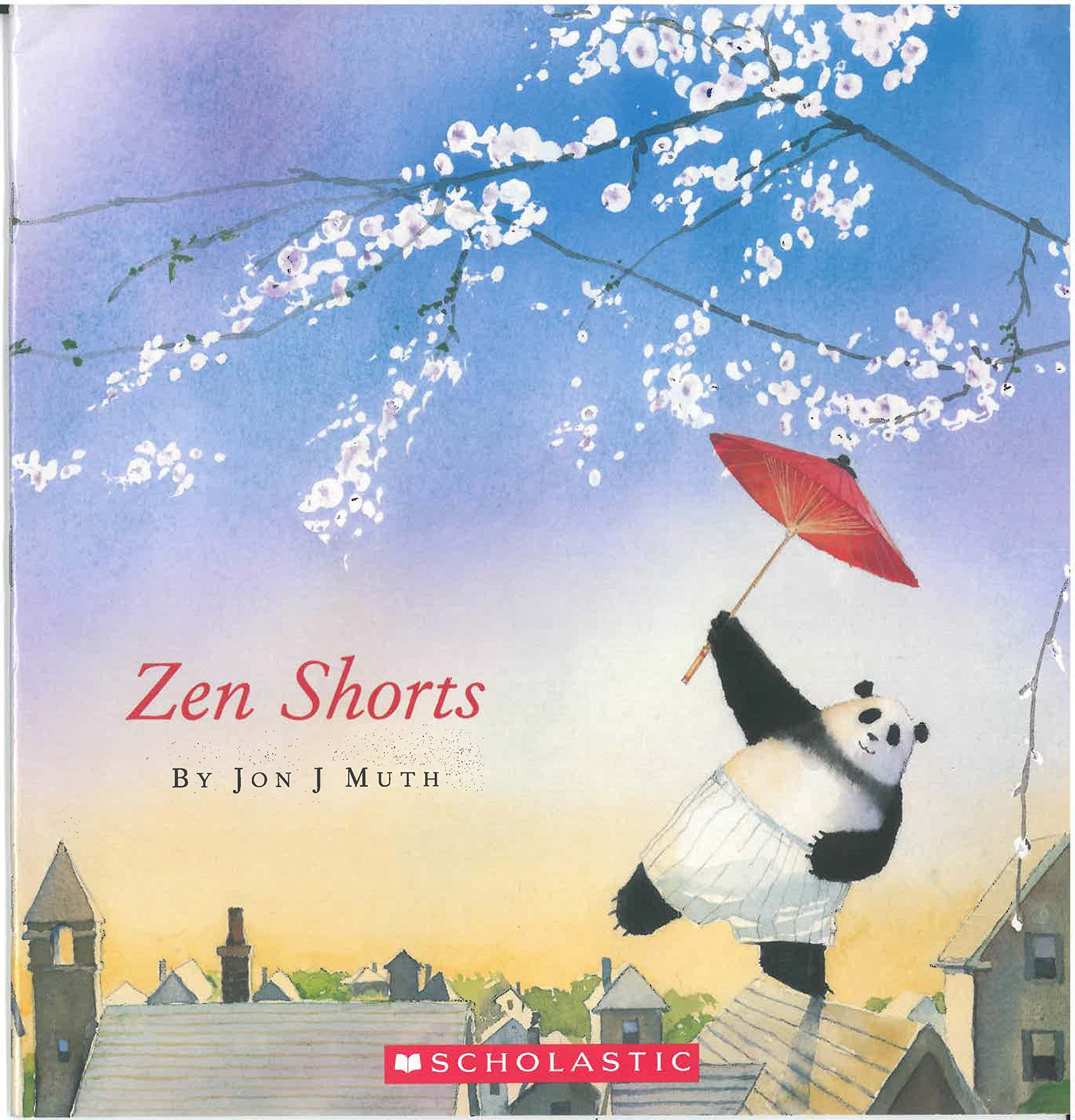 """Cover of """"Zen Shorts"""" with a panda carrying an umbrella, walking on a rooftop under cherry blossoms"""