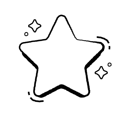 Drawing of a rounded corner star