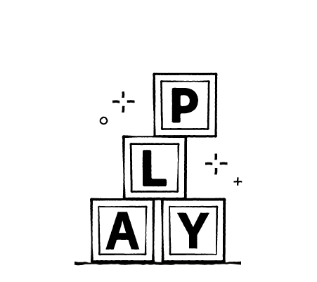 Drawing of blocks with PLAY shown in letters