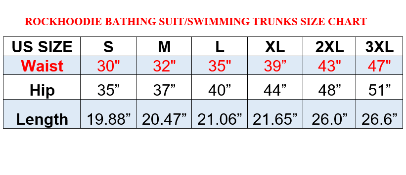 Swim Trunks Sizing Chart
