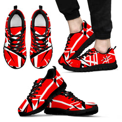 Red Black White Stripes Sneakers for Men [Black/White Sole]