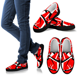 Red Black White Stripes Slip On for Men [Black/White Sole]