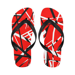 Red Black White Stripes UniSex Flip Flops
