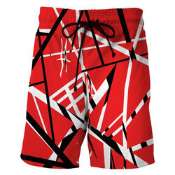 Red Black White Stripes Men's Swim Trunk/ Bathing Suite/Board Shorts