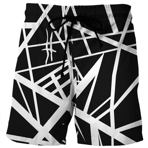 Black White Stripes Men's Swim Trunk/ Bathing Suite/Board Shorts