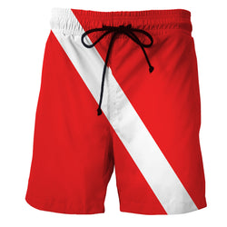 Red White Stripes Men's Swim Trunk/ Bathing Suite/Board Shorts