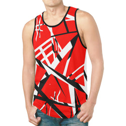 Red Black White Stripes Tank Top for Men