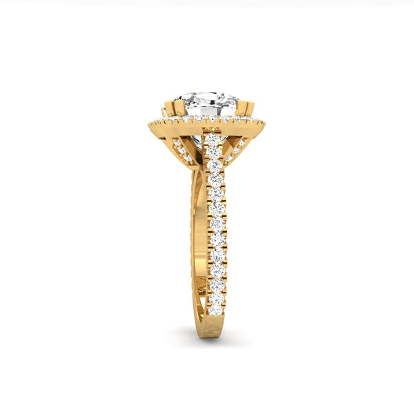 14K Yellow Gold Halo Diamond Ring