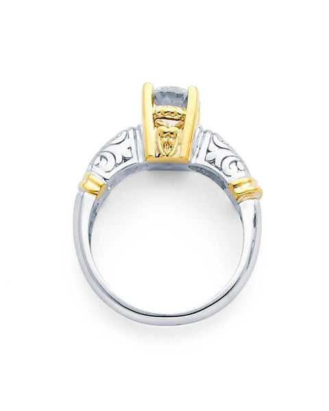 14 Karat Two Tone Gold Solitaire Ring