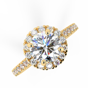 14 Karat Gold Diamond Halo Bridal Engagement Ring