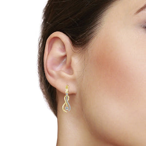 14 Karat Gold And Diamond Earrings