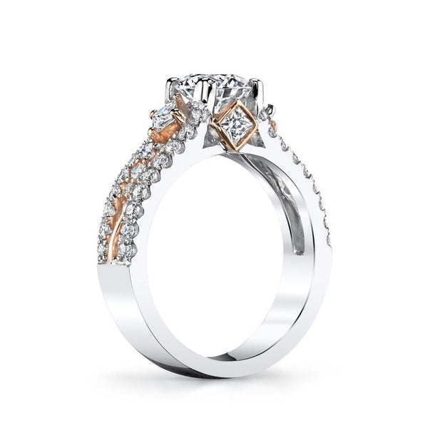 14 Karat Gold Diamond Two Tone Engagement Ring