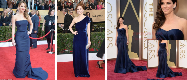 Image of Navy Blue Gowns on the Red Carpet