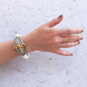 Maya - Edgy, white, silver and gold cuff bracelet