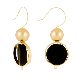 Alice - Elegant black & sterling silver earrings