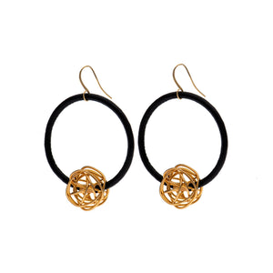 Aria Black hoop earrings with 24K gold wire ball