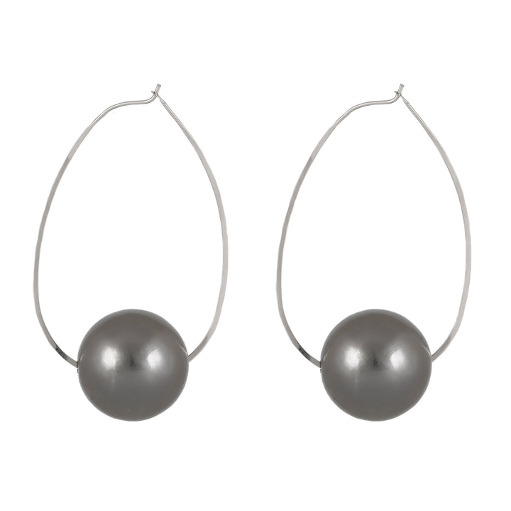 April - Chic dark gray ball earrings