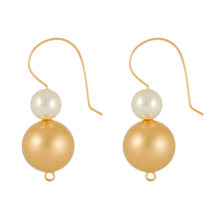 Gabriella - Classic white & gold ball earrings