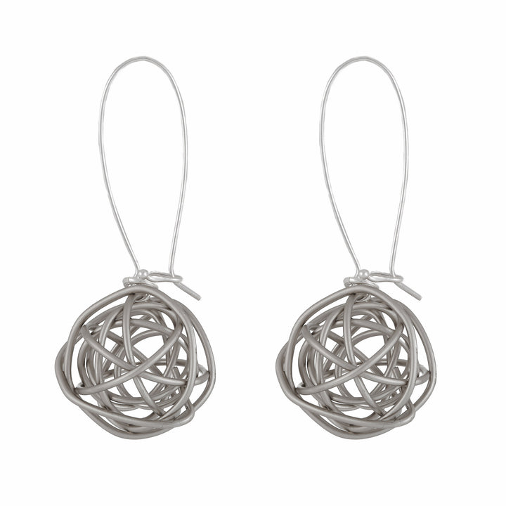 Ariana - Sterling silver wire ball dangle earrings