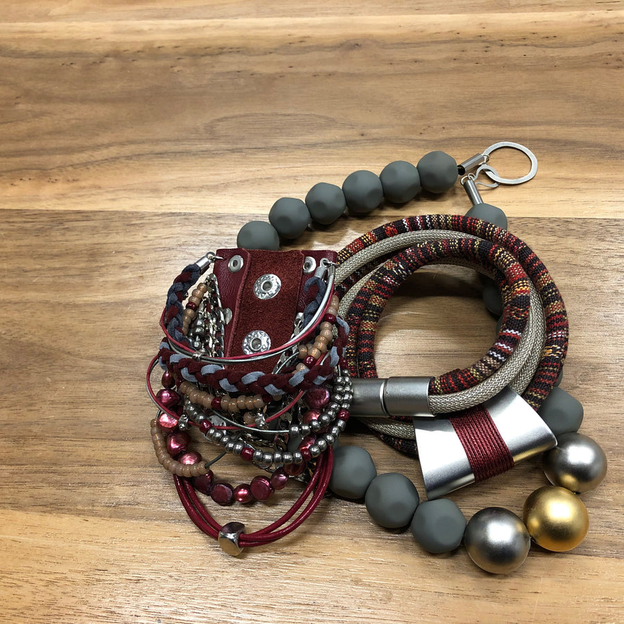 Linda - Burgundy and 925 sterling silver multi-cord collar necklace