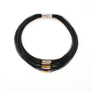 Barbara - Black cords collar necklace