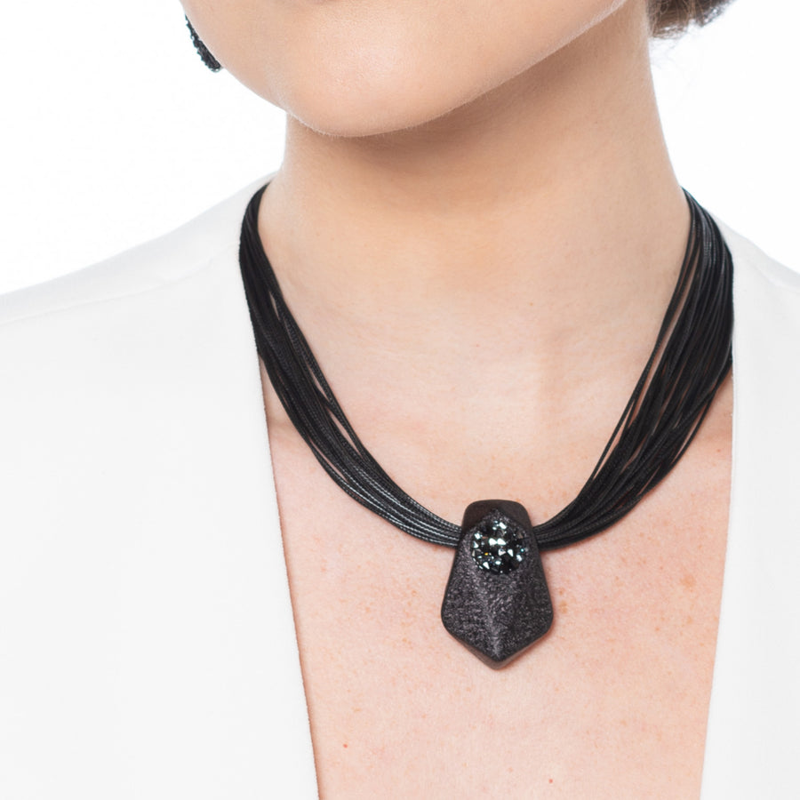 Mary - Black crystal-set pave collar necklace