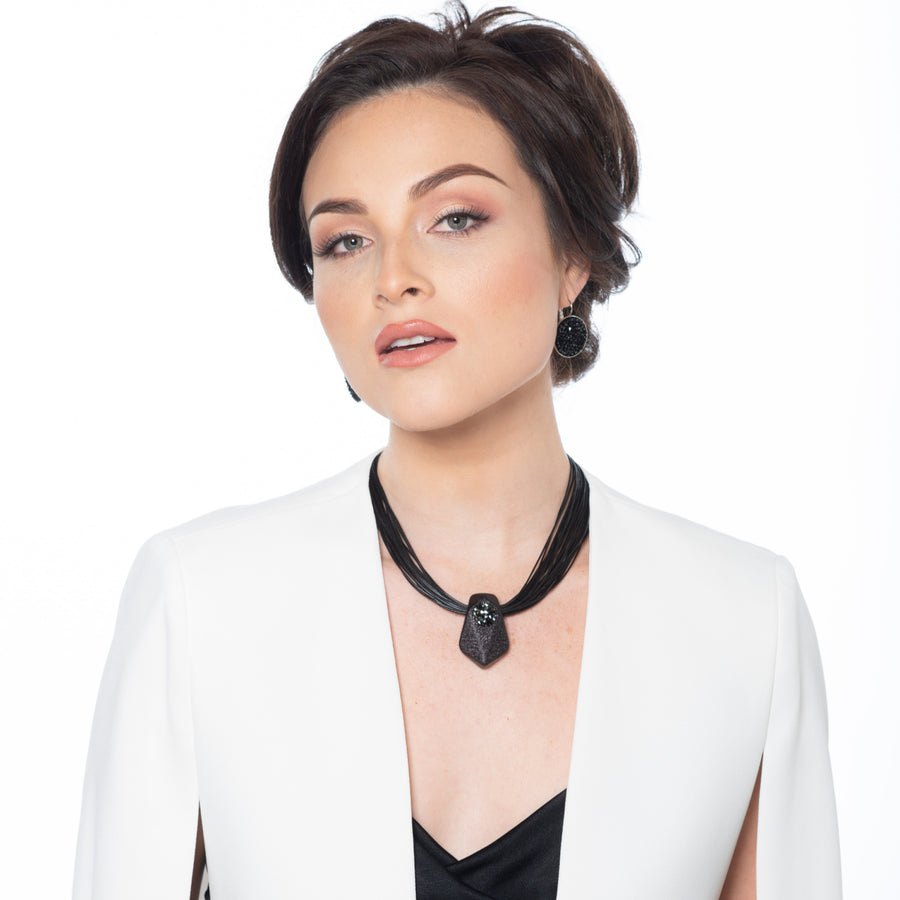 Frances - Black crystal-set pave necklace & earrings