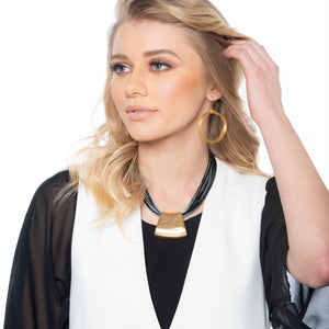 Jessica - Bold grey and black cords with 24K gold pendant necklace