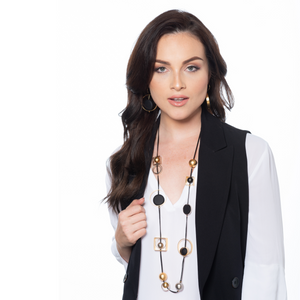 Sandra - Long multicolor geometric shapes necklace