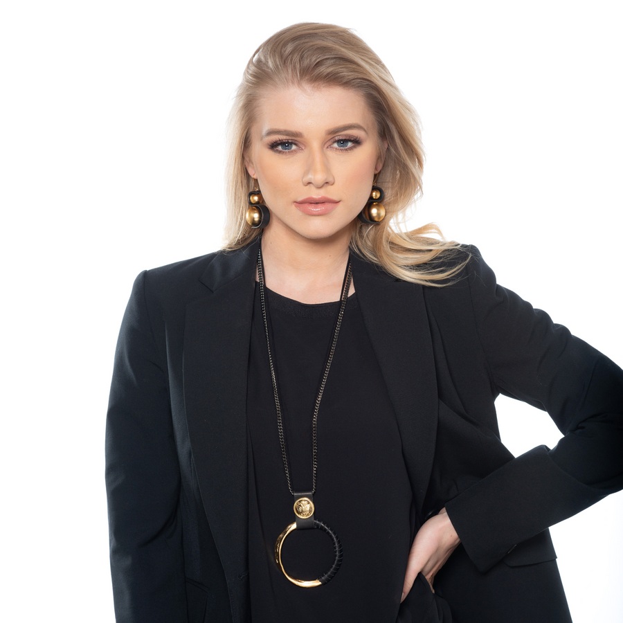 Audrey - Contemporary gold ball & black wave earrings
