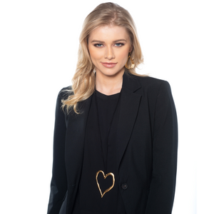 Patricia - Long 24K gold heart statement necklace