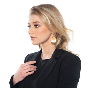 Morgan - Golden heart statement necklace & earrings
