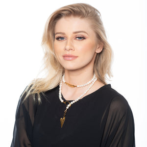 Helen - Adjustable lariat pearl necklace