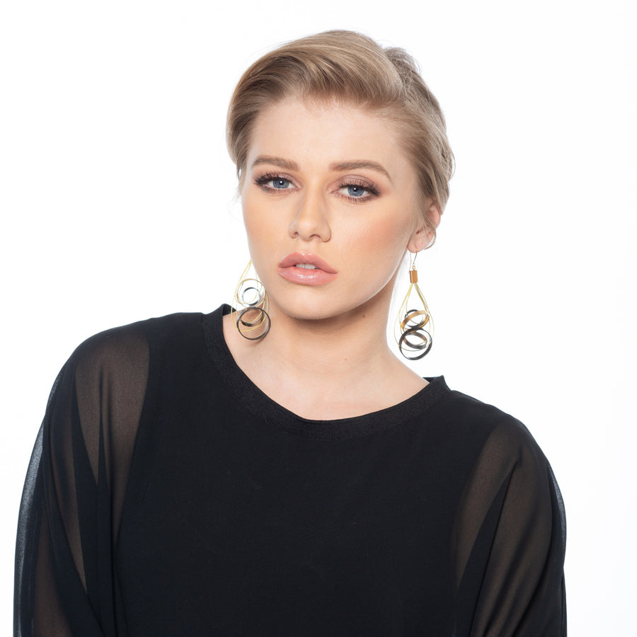 Hailey - Geometric gold & silver earrings