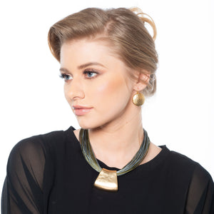 Rose - Elegant olive green, grey and gold necklace with gold hammered earrings