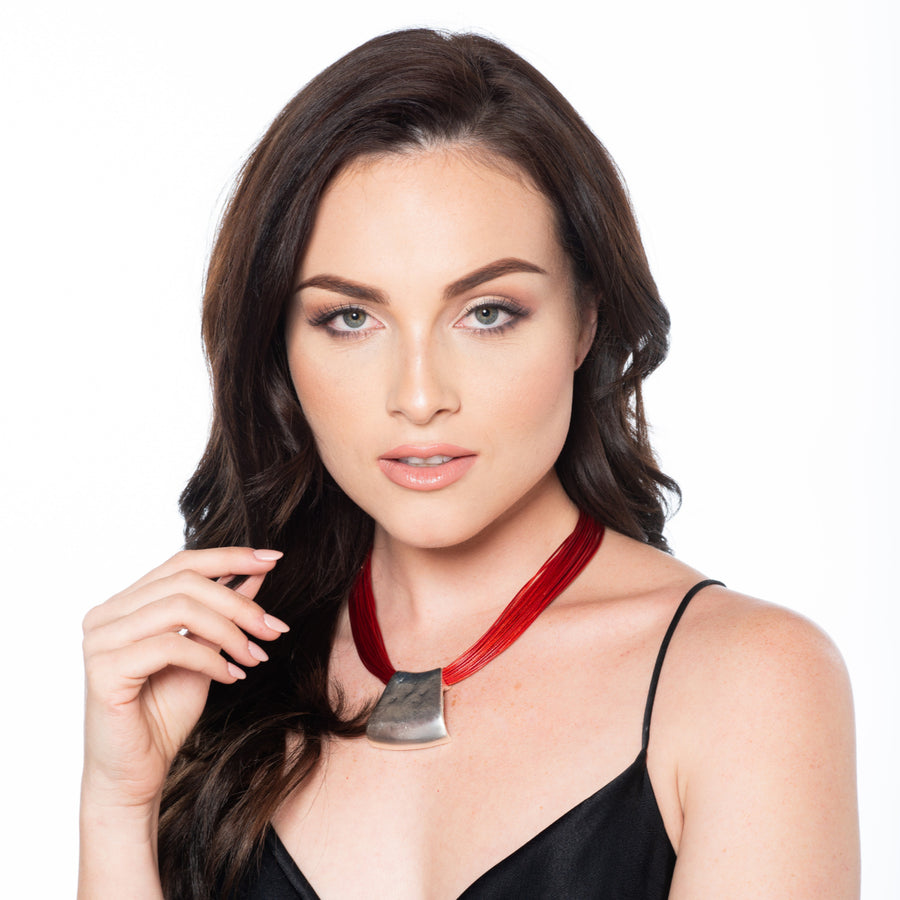 Jessica - Red cord & sterling silver pendant necklace