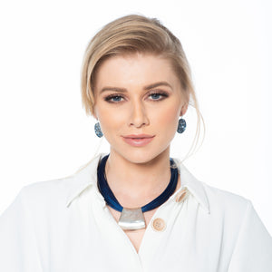 Jessica - Bold blue cord & sterling silver pendant necklace