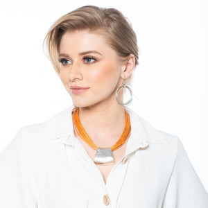 Piper - Trendy ochre & silver necklace and earrings