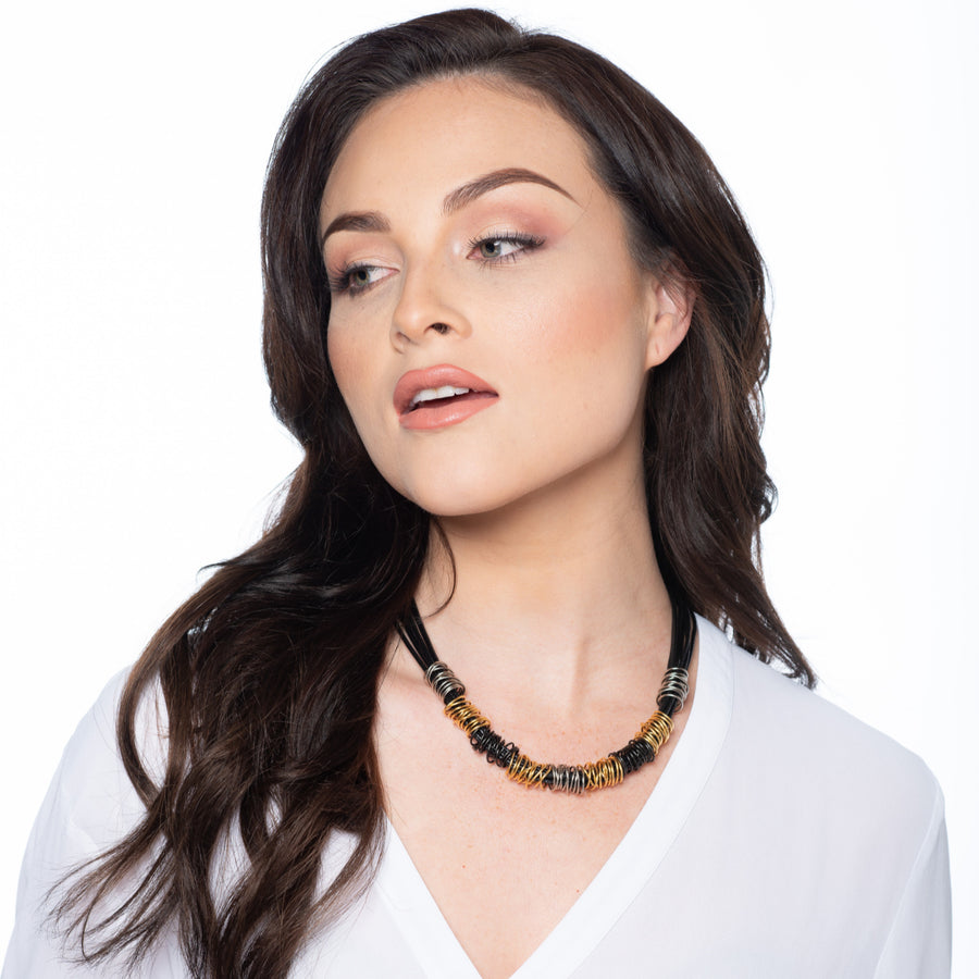 Susan - Modern wrapped wire collar necklace
