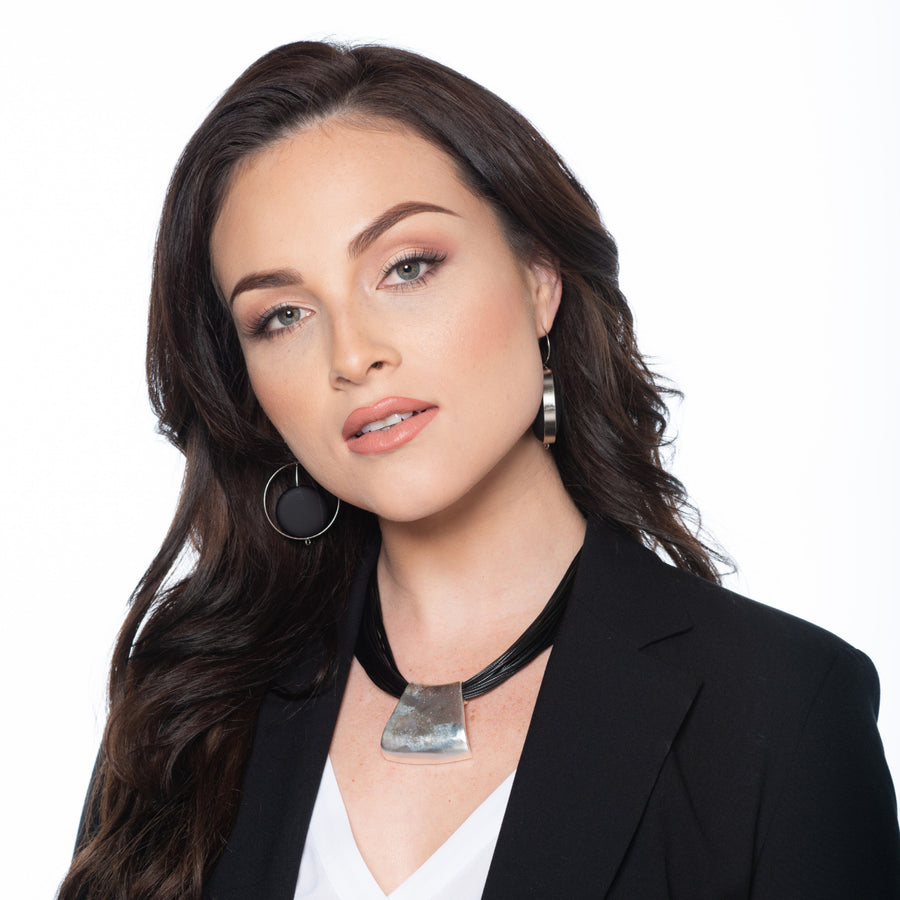 Jessica - Bold black cord & sterling silver pendant necklace