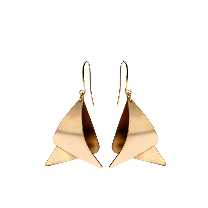 Eleanor Two gold bent triangles earrings