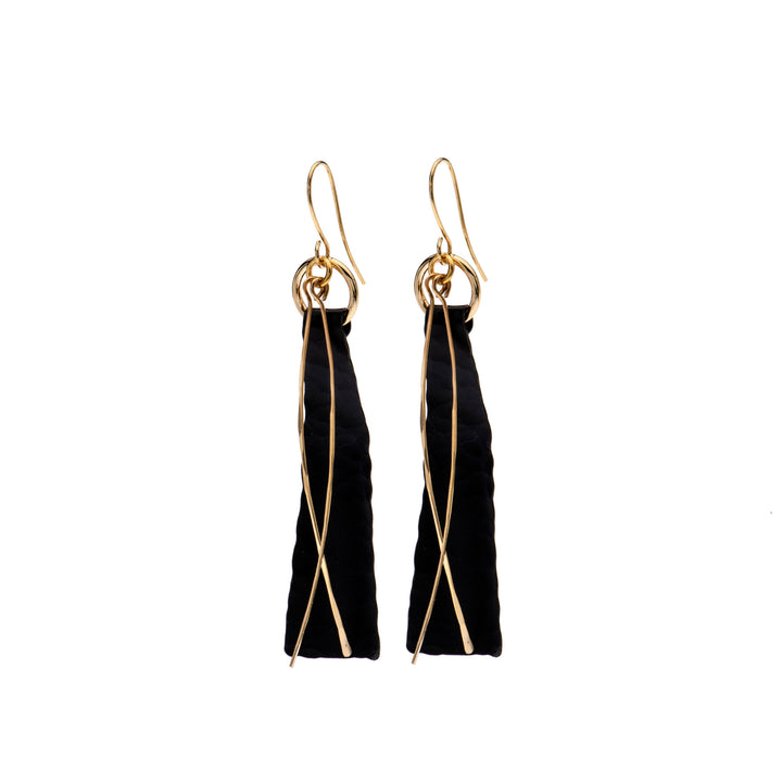 Addison Long Black & Gold Earrings