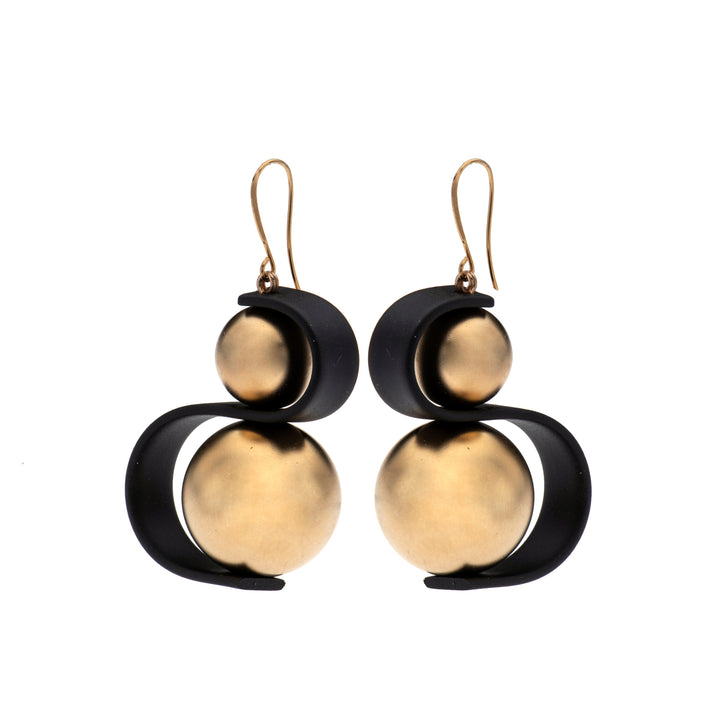 Audrey gold ball & black wave earrings.