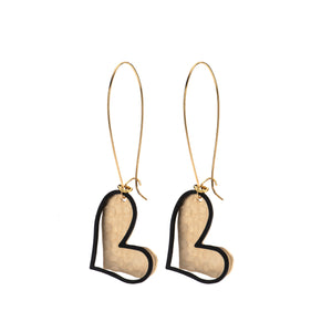 Avery gold & black heart earrings