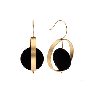 Abigail 24K Gold & Black Disk Earrings