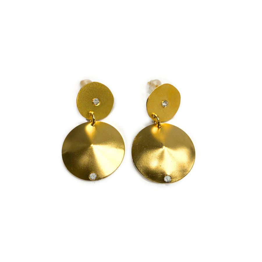 Amy - Delicate 24K gold and Swarovski crystal circular dangle earrings