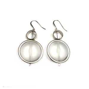 Serena - Stunning sterling silver and clear large circular dangle earrings