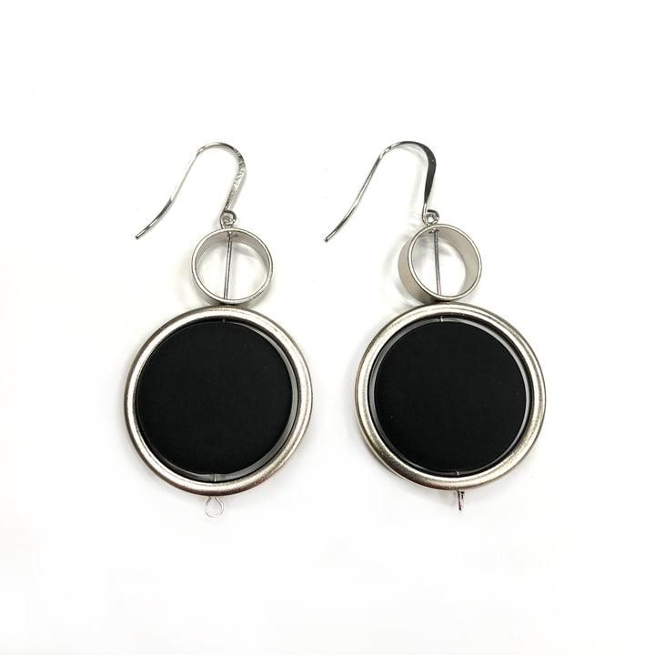 Kelly - Stunning sterling silver and black large circular dangle earrings