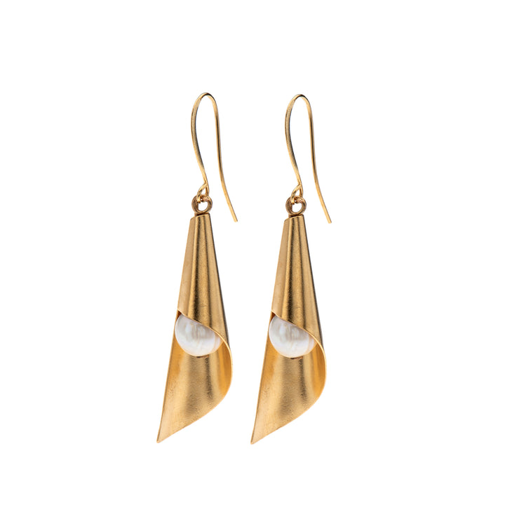 Hannah - Retro gold cone earrings